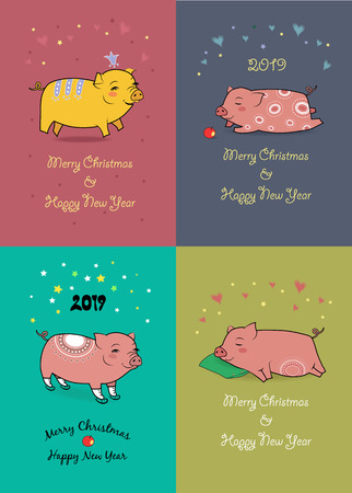 Christmas New Year 2019 Set. Funny cartoon pigs with crown, apple, skates and pillow. Vector Illustration Ilustração