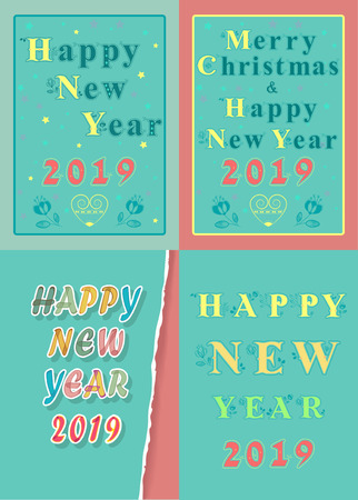 Christmas New Year 2019 Set. Texts by artistic font with floral decor. Vector Illustration