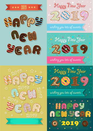 Christmas New Year 2019 Set. Artistic font - sweet donuts with cream decor. Custom text. Vector Illustration Ilustração