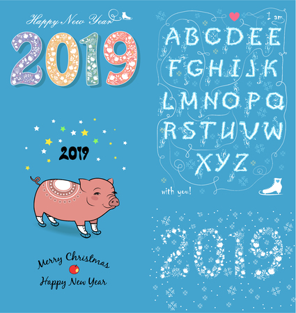 Christmas New Year 2019 Set. Texts and Numbers by artistic floral font. Funny pig with skates. Romantic enigma. Vector Illustration