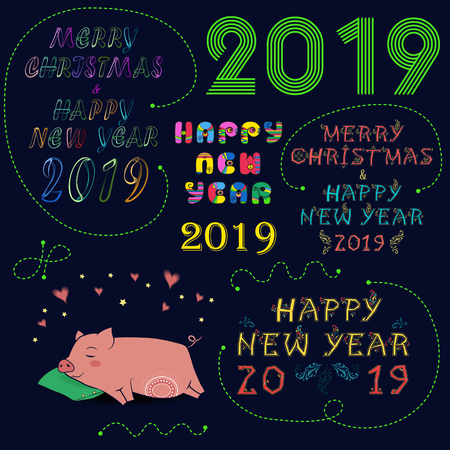 Christmas New Year 2019 Set. Night sky with bright inscriptions by artistic font - neon, ethnic and retro 70s.