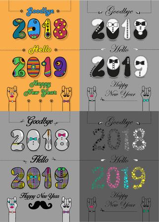 Christmas New Year Set. Goodbye 2018, Hello 2019. Artistic fonts - retro 70s, tuxedos, shirts, bright flowers.