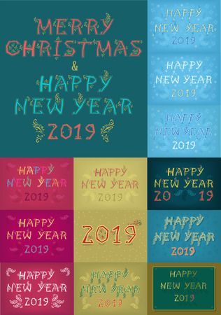 Christmas New Year 2019 Set. Ethnic folk artistic font. Illustration Banco de Imagens
