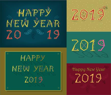 Christmas New Year 2019 Set. Folk artistic font. Illustration