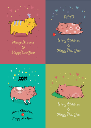 Christmas New Year 2019 Set. Funny cartoon pigs with crown, apple, skates and pillow. Illustration Banco de Imagens