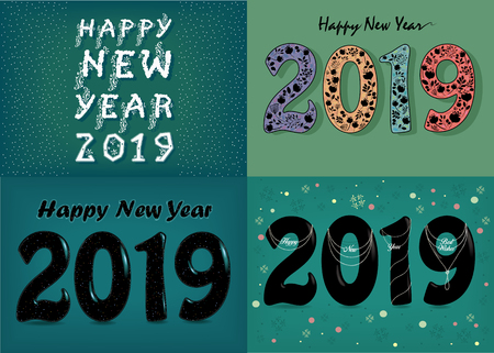 Christmas New Year 2019 Set. Texts by artistic font - frost patterns, gothic flowers, pearl collars. Illustration Banco de Imagens