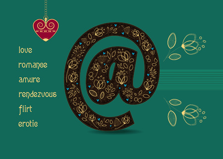 Valentine Card. Big brown Symbol of Email with floral decor - graceful yellow golden flowers and small blue hearts. Yellow romantic inscriptions. Red vintage heart with chain. Place for custom text.