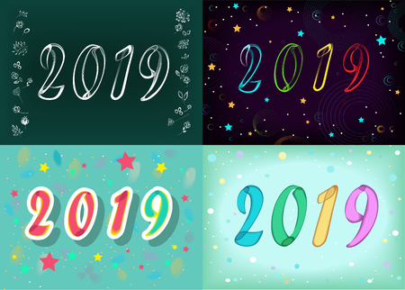 Christmas New Year 2019 Set. Number 2019 by artistic font - neon and watercolor effect. Vector Illustration Ilustração