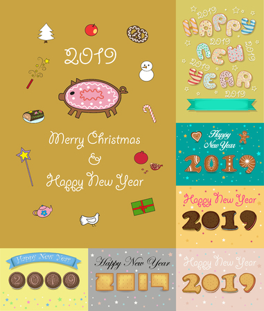 Christmas New Year 2019 Set. Texts by artistic font -sweet donuts, cookies, crackers, biscuits and ginger breads. Vector Illustration