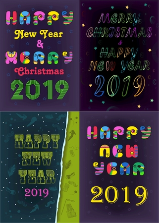 Festive Christmas New Year 2019 Set. Texts and Numbers by artistic font - retro 70s, vintage green, bright neon. Stok Fotoğraf
