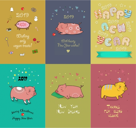 Festive Christmas New Year 2019 Set. Funny pig with festive and vegan messages. Banco de Imagens