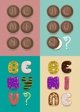Set of romantic texts for Valentine Day - Be mine, Be my Valentine. Letters are as sweet donuts and chocolate cookies. Banco de Imagens
