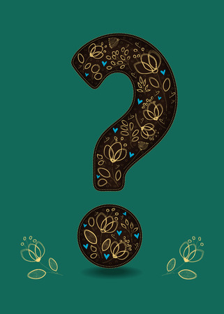 Valentine Card. Big brown Question Mark with floral decor - graceful yellow golden flowers and small blue hearts.