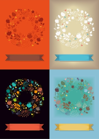 Set of four Graceful Floral Greeting Cards. Wreaths of flowers and hearts. Banco de Imagens