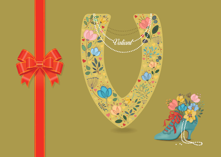 Artistic letter V with folk botanical decor - watercolor flowers and hearts. Big red bow. Retro blue shoe with pearls and floral bouquet. Pearl Collar with text as pendant - Valiant Banco de Imagens