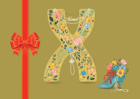 Artistic letter X with folk botanical decor - watercolor flowers and hearts. Big red bow. Retro blue shoe with pearls and floral bouquet. Pearl Collar with text as pendant - Xenial