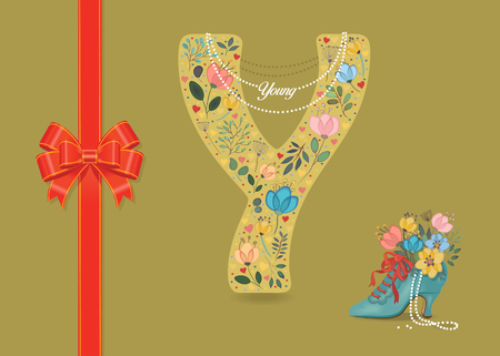 Artistic letter Y with folk botanical decor - watercolor flowers and hearts. Big red bow. Retro blue shoe with pearls and floral bouquet. Pearl Collar with text as pendant - Young Banco de Imagens
