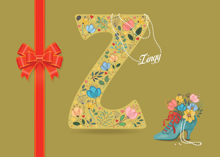 Artistic letter Z with folk botanical decor - watercolor flowers and hearts. Big red bow. Retro blue shoe with pearls and floral bouquet. Pearl Collar with text as pendant - Zingy Banco de Imagens