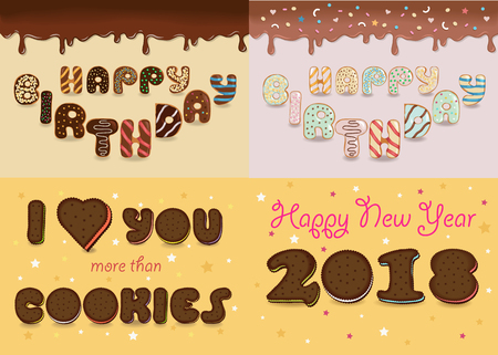 Cards with texts by artistic cookies font. Happy Birthday - chocolate and white donuts. I love you and Happy New Year 2018 - chocolate biscuits. illustration