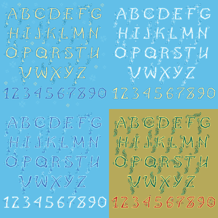 Set of Letters and Numbers. Blue and White Winter Alphabets. Green Christmas Font with Red Numerals. Illustration
