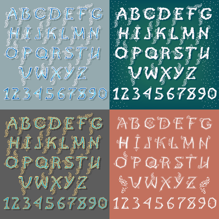 Set of Letters and Numbers. Winter White and Blue Alphabets with Geometric Decor. Banco de Imagens