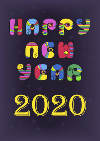 Happy New Year 2020. Festive inscription by artistic retro font - bright colorful letters with disco style. Purple background with stars and hearts. Vector illustration