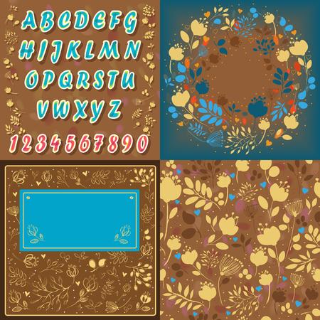 Set of Floral Font
