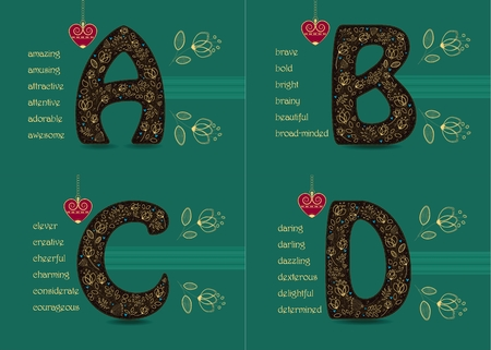 Name Day Cards Set. Artistic brown letters A, B, C, D with golden floral decor.