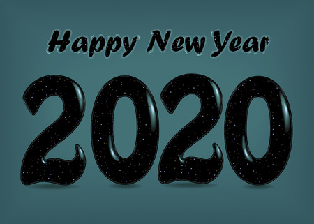 Happy New Year 2020. Black artistic numbers with spray and decor Ilustração