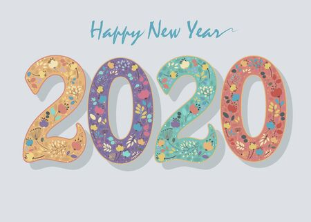 Happy New Year 2020. Colorful artistic numbers with floral decor