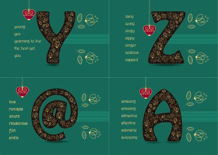 Name Day Cards Set. Artistic brown letters Y, Z, A, symbol At with golden floral decor. Banco de Imagens