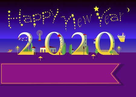 Yellow text Happy New Year with stars in the sky. Number 2020  is as a white houses on the night  beach. Ilustração
