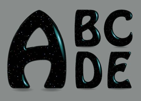 Set of Black Symbols - A, B, C, D, E. Black artistic font with bulk forms, glares and Flickering sparks.