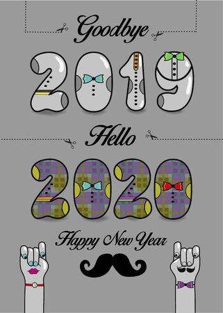 Goodbye 2019. Hello 2020. Happy New Year. Artistic numbers with ties and buttons, black texts and scissors.