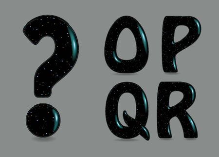 Set of Black Symbols - O, P, Q, R, Question mark. Black artistic font with bulk forms, glares and Flickering sparks. Foto de archivo