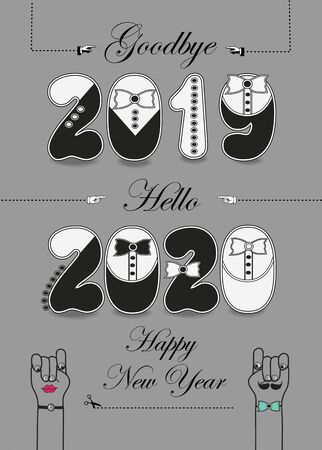 Goodbye 2019. Hello 2020. Artistic black and white numbers with ties and buttons, black texts, gloves as arrows. Illusztráció