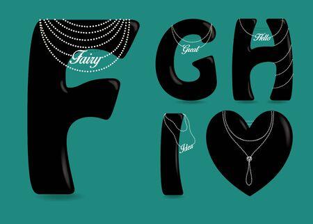 Set of Black Symbols - F, G, H, I, heart. Black artistic font with bulk forms, mat glares, texts and Pearl Necklaces. Illustration Imagens