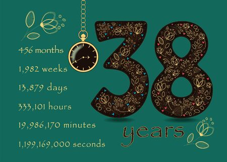 Brown number Thirty Eight with golden floral decor and hearts. Years break down into months, weeks, days, hours, minutes and seconds. Pocket watch shows twenty to four o'clock. Anniversary Card