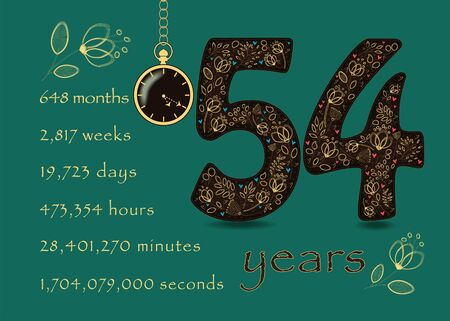 Brown number Fifty Four with golden floral decor and hearts. Years break down into months, weeks, days, hours, minutes and seconds. Pocket watch shows twenty past five o'clock. Anniversary Card
