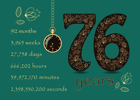 Brown number Seventy Six with golden floral decor and hearts. Years break down into months, weeks, days, hours, minutes and seconds. Pocket watch shows half past seven oclock. Anniversary Card