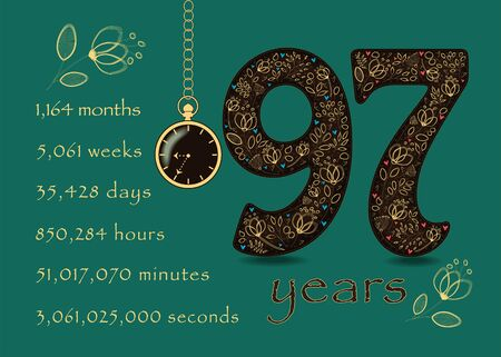 Brown number Ninety Seven with golden floral decor and hearts. Years break down into months, weeks, days, hours, minutes and seconds. Pocket watch shows Nine thirty-five o'clock. Anniversary Card