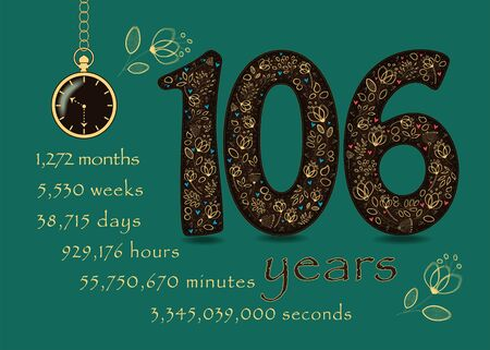 Brown number One Hundred and Six with golden floral decor and hearts. Years break down into months, weeks, days, hours, minutes and seconds. Pocket watch shows half past ten o'clock. Anniversary Card