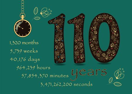 Brown number One Hundred and Ten with golden floral decor and hearts. Years break down into months, weeks, days, hours, minutes and seconds. Pocket watch shows twenty to eleven o'clock. Vector