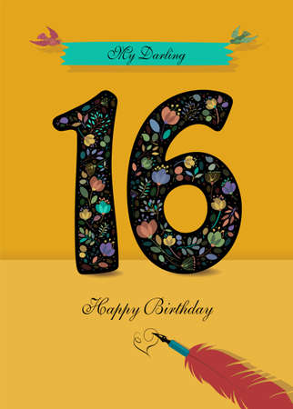 Black Number 16 with floral decor - bright flowers and plants. Blue bunner with birds and inscription My Darling. Red pen with handwriting signature of Heart and text Happy Birthday. Yellow Background