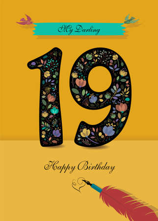 Black Number 19 with floral decor - bright flowers and plants. Blue bunner with birds and inscription My Darling. Red pen with handwriting signature of Heart and text Happy Birthday. Yellow background