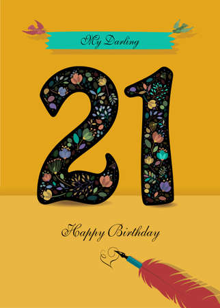 Black Number 21 with floral decor - bright flowers and plants. Blue bunner with birds and inscription My Darling. Red pen with handwriting signature of Heart and text Happy Birthday. Yellow background Illustration