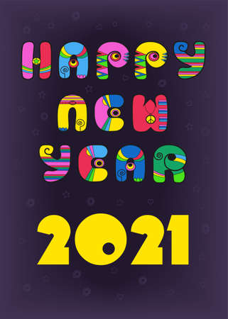 Happy New Year 2021. Festive inscription by artistic retro font - bright colorful letters with disco style. Purple background with stars and hearts. Vector illustration Vettoriali