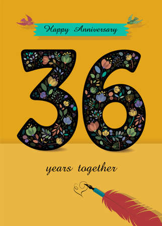 Black Number 36 with bright floral decor. Blue banner with birds and inscription Happy Anniversary. Text Years together. Red pen handwriting signature of heart. Yellow Background. Vector
