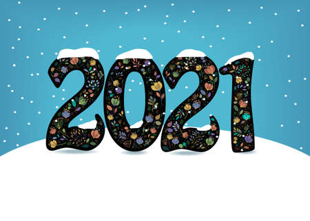 New Year 2021. Artistic floral numbers with watercolor effect on the snowdrift. Blue background with snowfall. Vector Illustration Vettoriali