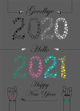 Goodbye 2020. Hello 2021. Artistic floral numbers, black texts, white gloves as arrows. Cartoon male and female hands with eyes, tie and mustache. Gray background. Vector Illustration